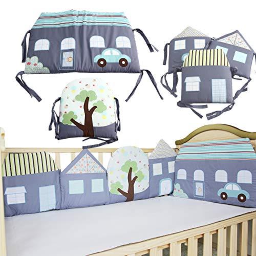 Juego de 5 protectores para cuna de bebé, de algodón, pintados a mano, diseño de casa pequeña