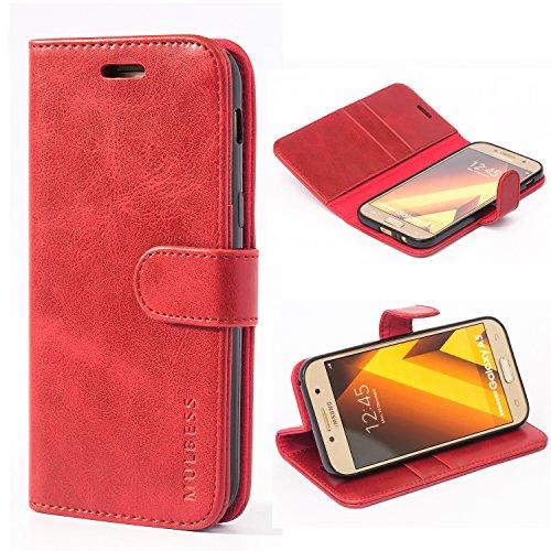 Mulbess Handyhülle für Samsung Galaxy A5 2017 Hülle, Leder Flip Case Schutzhülle für Samsung Galaxy A5 2017 Tasche, Wein Rot