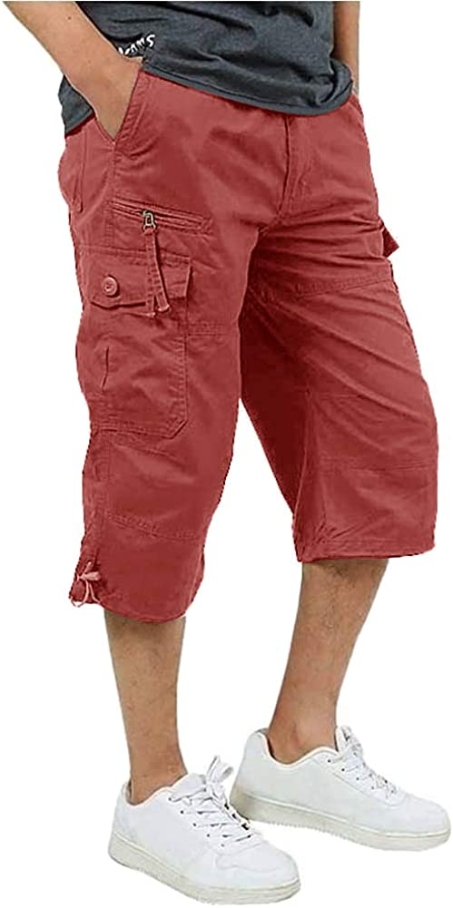 FASKUNOIE Men's 3/4 Cotton Cargo Short Pants Casual Loose Fit Outdoor Capri Long Shorts with Seven Pockets: Clothing