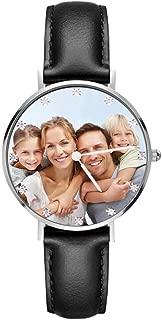 Reloj Personalizado Foto y Grabado Caracteres Analógico de Cuarzo de Pulsera Malla De Banda Plata Impermeable Ultra-Delgada Clásico Regalo para Familia Mujer Novia
