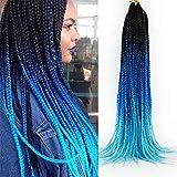 24 Inch Box Braids Crochet Hair 5Packs Pre-Looped Ombre Box Braids Crochet Braids Synthetic Hair Extensions for Black Women 22Strands/Pack (1b-dark blue-light blue, 24inch)