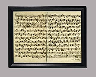 BiblioArt Series J. S. バッハ自筆譜『無伴奏ヴァイオリンのためのパルティータ第2番-シャコンヌ冒頭部分』-A4サイズ額装品