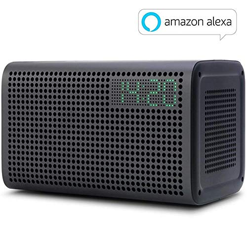 GGMM E3 Enceinte WiFi Bluetooth Haut-Parleurs WiFi Multi-Room avec Alexa Airplay Son Stéréo 20W LED Horloge Réveil Port de Charge USB Noir