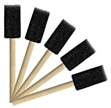Tupalizy 1 Inch Sponge Brushes for Kids Painting DIY Crafts Foam Paint Brush with Wooden Handles for Staining Stencils Art Project Decoupage Acrylics Varnishes Enamel Wood Smooth Surface (5PCS)