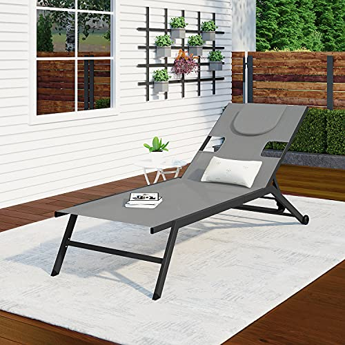 Outdoor Sun Lounger, 4 Level Backrest & 2 Wheels Adjustable Portable Foldable Recliner Lounge Chair Bed with Reading Hole Pillow and Arm Slots for Garden Poolside Backyard (Light Gray, 1)