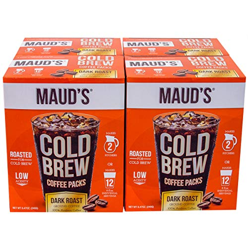 Maud's Cold Brew Coffee Filter Bags - 100% Arabica Low Acid Coffee Cold Brew Packs, 4 Case Packs with 16 Filters Makes 8 Pitchers Or 48 Single Serve Cups With No Cold Brew Coffee Maker Required