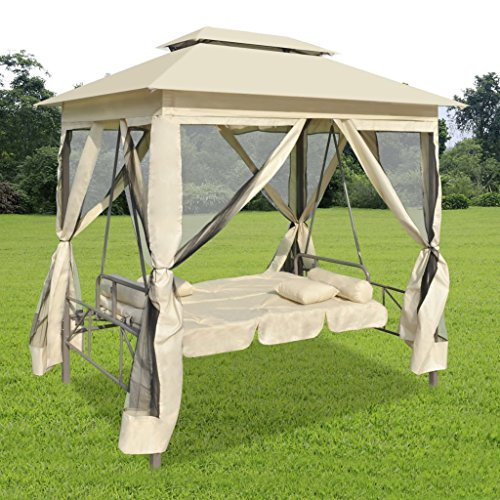 vidaXL Outdoor Gazebo Convertible Swing Chair, Sun Shelter Canopies, Private Tent with Curtain, Relaxing Lounger Chaise, with Cushion, Pillows and Weather Resistant Powder Coated Steel Frame