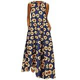 Maxi Dresses for Women Summer Casual, Kaitobe Womens Sleeveless Dresses V Neck Sunflower Print Vintage Bohemian Dress