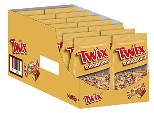 Twix Schokoriegel | Miniatures, Keks | 14 Packungen in einer Box (14 x 150 g)