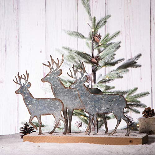 Glitzhome Christmas Centerpiece Table Decorations 12.81 Inches Metal Christmas Reindeer Decor Galvanized Deer Decoration for Home Country Christmas Decor Rustic Xmas Desk Decoration