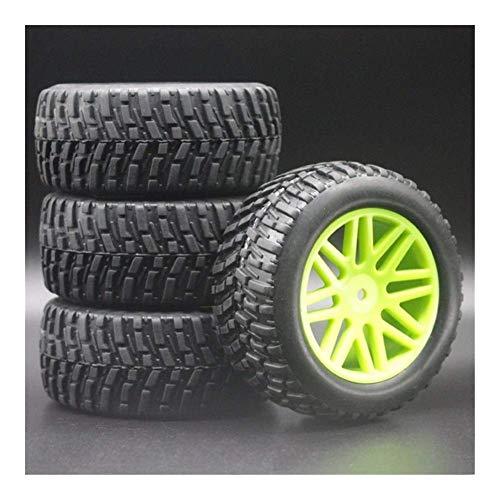 V-MAXZONE Nuevo 4pcs 1/10 RC Modelo 4WD Sport Pull Rally Car Wheel Llantas y neumáticos Diámetro 95 mm, Ancho 37 mm para HSP HIMOTO REDCAT 2.2'Neumáticos 608-7007 Repuestos Accesorios (Color : Green)
