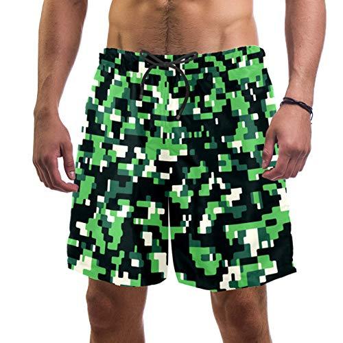 AITAI Pantalones cortos de playa para hombre Camo verde militar de secado rápido Deportes traje de baño traje de baño