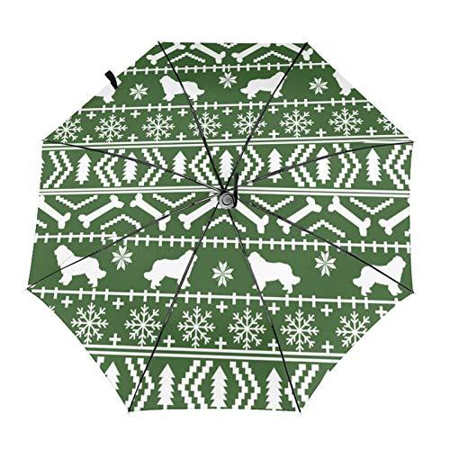 Terranova Fair Isle - Sombrilla automática de tres pliegues para amantes de la raza de perro, color verde