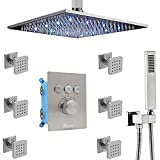 Bathroom Luxury Combo12 Inch LED Rain Shower Head System with Body Jets and Handheld, Shower Faucet Fixture Set, Backnets Can Use All Options at A Time (Brushed Nickel)