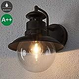 Lindby Wandleuchte außen 'Eddie' dimmbar (spritzwassergeschützt) (Landhaus, Vintage, Rustikal) in Braun (1 flammig, E27, A++) - Außenwandleuchten, Wandlampe, Led Außenlampe, Outdoor Wandlampe für