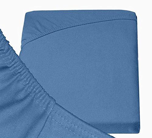 Double Jersey – Spannbettlaken 100% Baumwolle Jersey-Stretch bettlaken, Ultra Weich und Bügelfrei mit bis zu 30cm Stehghöhe, 160x200x30 Jeans Blau - 6