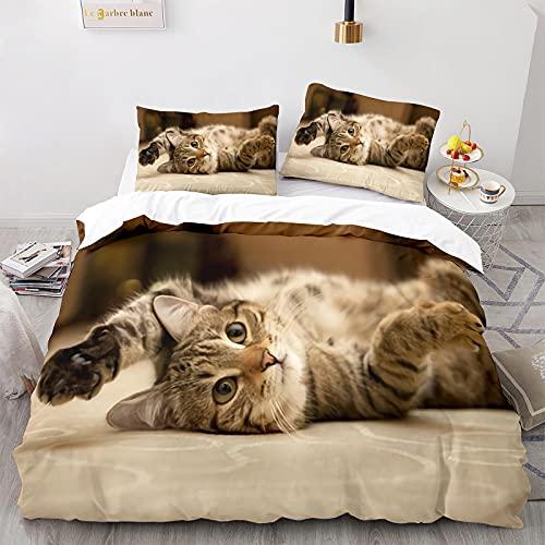 Funda Nórdica Gatos Juego de Cama Blanco Estilos Múltiples Súper Lindos Patrón de Gato Animal 3D con Funda de Almohada con Cremallera (Gato 17,Cama 105-180×220)