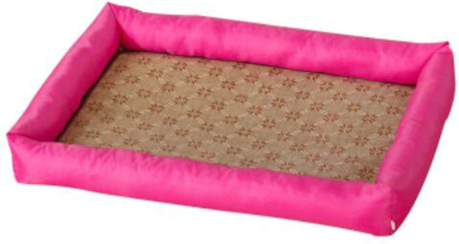 Dog Bed, Spring Large and Medium Dog Orthopedics with Mat Sleeping Mat Bed, Can Be Placed On The Floor Car Dog Cage, Purple, pink Red, orange XL (color   pink red, Size   M)