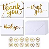 Supla 102 Sets Gold Foil Thank You Cards Bulk with Envelopes Stickers Thank You Notes 3 Designs Blank Thank You Note Cards Greeting Cards 4' x 6' for Weddings Baby Shower Bridal Shower