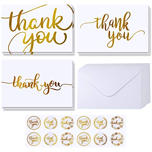 thank you notes Supla 102 Sets Gold Foil Thank You Cards Bulk with Envelopes Stickers Thank You Notes 3 Designs Blank Thank You Note Cards Greeting Cards 4