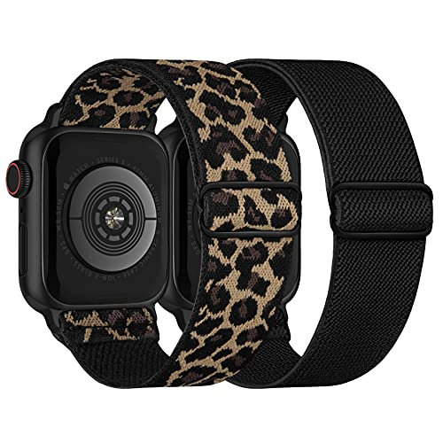 Stretchy Nylon Solo Loop Bands Compatible with Apple Watch 38mm 40mm, Adjustable Braided Sport Elastic Straps Women Men Wristbands for iWatch Series 6/5/4/3/2/1 SE, Black, Leopard
