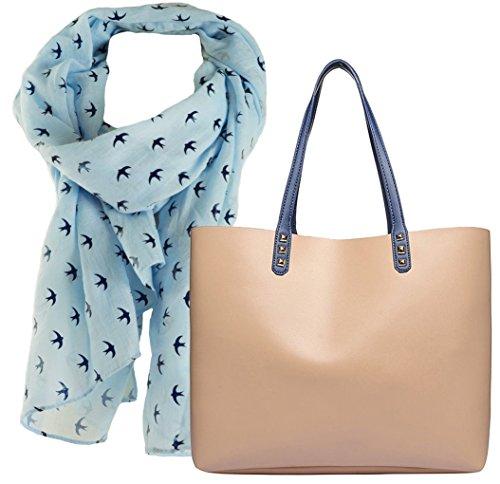 Shopper Tasche, City Damenhandtasche, absolut im Trend, als Geschenk- Set zusammen Damen Schal mit Schwalben-Motiv und hohem Tragekomfort