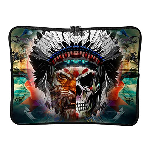 Watercolor Tiger Indian Skull Laptop Case Bag Waterproof Lightweight Multi-Color 10-17 Zoll for Boys Girls White 17 Zoll