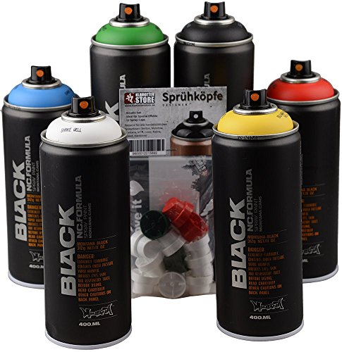 Set di bombolette spray Montana Black Graffiti Street Art, colori base + nero e bianco + testine di ricambio