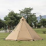JTYX Großes Pyramiden Tipi Campingzelt mit Herdloch Wasserdichtes Indian Tipi Zelt mit Tragetasche für 5-8 Personen Familien Camping Heiße Zelte