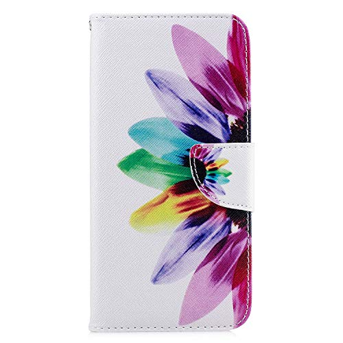 Samsung Galaxy A12 Case, 3D Painted Shock-Absorption Flip PU Leather Notebook Wallet Cases Folio Magnetic Book Protective Cover Bumper for Samsung Galaxy A12 with Stand Card Holder Slots, Half Flower