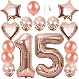 "Ceqiny 40' 15th Number Balloon Mylar Balloon 18"" Star Heart Foil Balloon 12"" Sequins Latex Balloon for Birthday Party Wedding Bridal Shower Photo Shoot Anniversary Decor, Rose Gold 15 Balloon Kit"