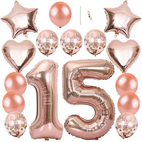 Ceqiny 16 Stück Roségold Luftballon Kit 15. Geburtstag Partyballon 40