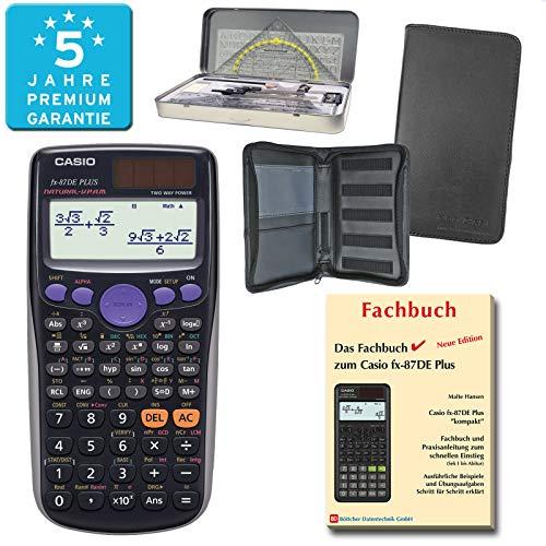 Casio FX-87DE Plus (PREMIUMpaket) + Erweiterte Garantie + Schutztasche + Fachbuch + Geometrieset : calcumio Artikel Set