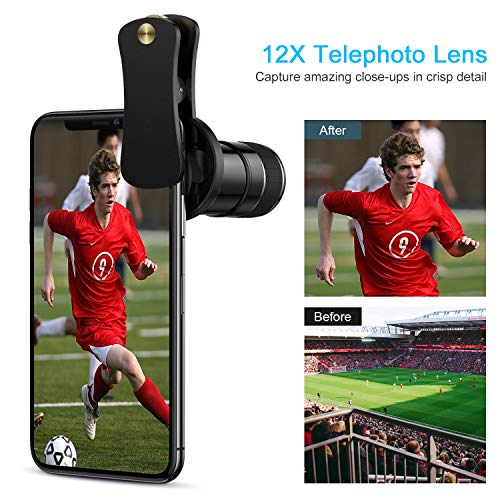 Phone Camera Lens - 4 in 1 Cell Phone Lens kit, 12x Telephoto Lens + 0.65x Wide Angle...