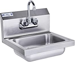 Stainless Steel Sink for Washing with Faucet NSF, Commercial Wall Mount Hand Basin for Restaurant, Kitchen and Home, 17 x ...