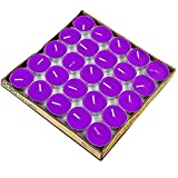 Tea Lights Candles, 50 Pack Flameless Colorful Tealights Holder Variety Relaxing Paraffin Pressed Wax 2 Hours Burn Time for Travel,Centerpiece,Party Gift Happy Birthday New Year Wedding (Purple)