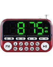 Hbcz Mini Radio FM Portátil Funciona con Batería Altavoz Incorporado 15 Días de Tiempo de Espera Temporizador de Alarma de Suspensión Reproductor de Mp3 Apto para Personas Mayores Uso