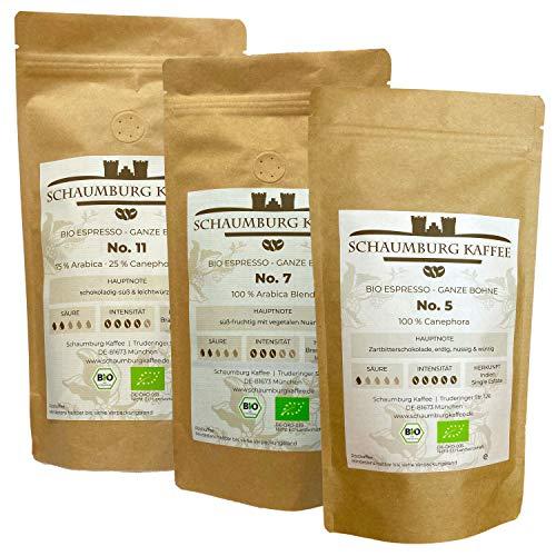 ☘️ Bio Espressobohnen Probierpaket 3 x 250 g   ganze Bohne   Schaumburg Kaffee