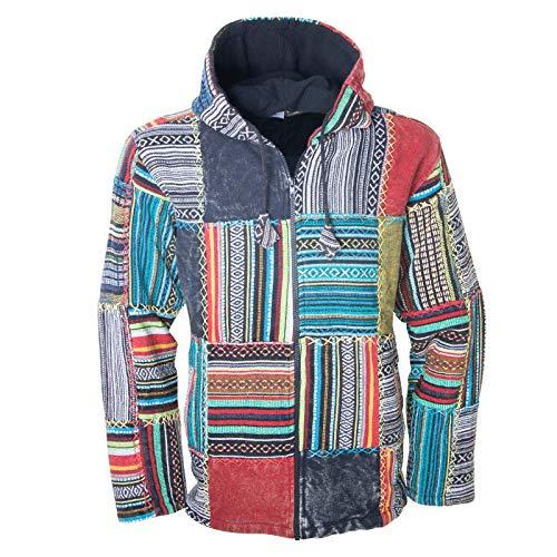 KUNST UND MAGIE Baja Jerga Unisex Patchwork Hoodie mit Kapuze Alternative Jacke, Größe:M, Farbe:Mehrfarbig