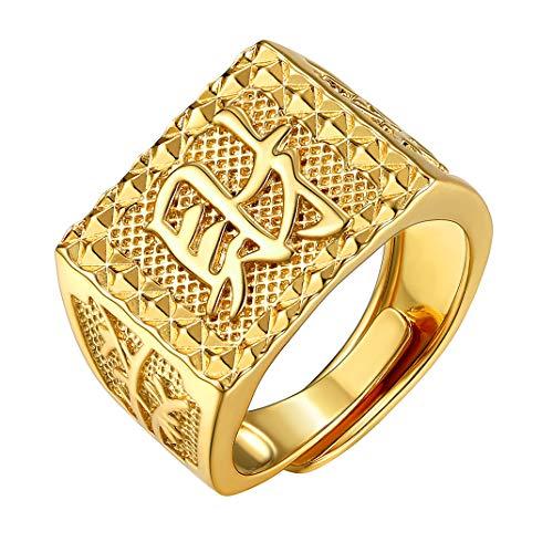 Goldchic Jewelry Gouden Zegelring Voor Mannen, Chinses Rich/Luck/Wealth Verstelbare Ring Met Gratis Geschenkverpakking