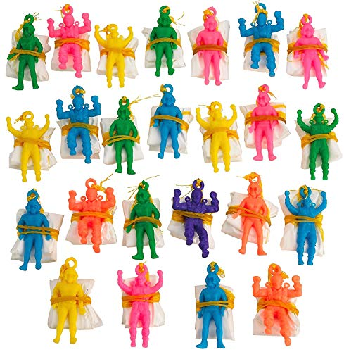 Kicko Mini Vinyl Paratroopers - Pack of 24 - 1.75 Inch Parachute Men - Assorted Colors Cool Airborne Army Guys Action Figures - for Kids, Boy or Girl Party Favors, Bag Stuffers, Fun Toy Prize