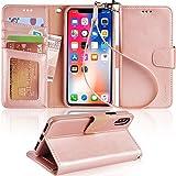 Arae Case for iPhone X/Xs, Premium PU Leather Wallet Case [Wrist...