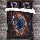 HARXISE Microfibra Juego de Cama Efectos 3 Piezas,Nebulosa Helix, Espacio, Estrellas, Explosión, Brillo,1(240x260cm)+2(50x80cm)