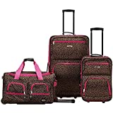 Rockland Vara Softside 3-Piece Upright Luggage Set, Pink Leopard, (20/22/28)