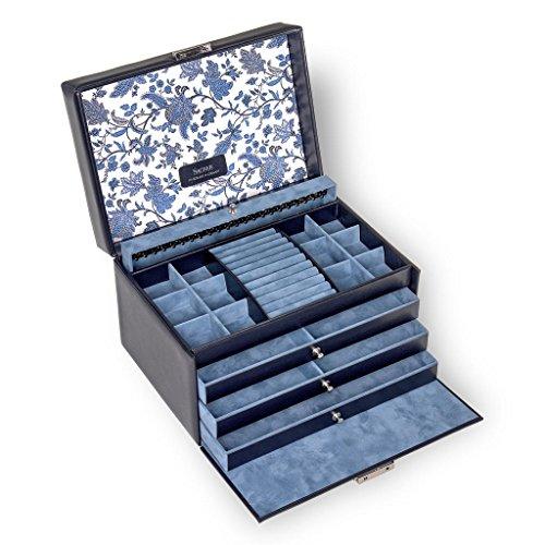 SACHER Schmuckkoffer Jasmin/florage/blau/Echt Leder/Handmade in Germany/Schmuckaufbewahrung