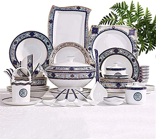 Juego de Platos, Juego de vajillas de cerámica con 55 Piezas, tazón/Plato/Maceta de Sopa/Cuchara | Conjunto de Cena de Hueso de China, Conjunto de combinación de Porcelana de patrón de jardín de