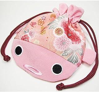 Daiso Japanese Kimono Fabric Cosmetic Goldfish Small Purse Kinchaku - Pink Fish Bag