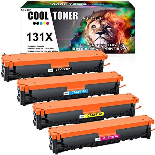 Cool Toner Kompatibel Tonerkartusche als Ersatz für HP 131X 131A CF210X CF210A 128A CE320A 125A CB540A HP Laserjet Pro 200 Color MFP M276nw M276n M251nw M251n (Schwarz,Cyan,Gelb,Magenta, 4er-Pack)