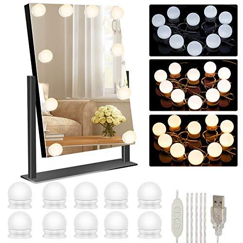 Luces para Espejo de Maquillaje, LED Luces Espejo de Tocador, USB Luz Hollywood Regulables LED Lámpara Kit con 10 Bombillas Regulables y 3 Modos para Fiesta, Baño, Dormitorio