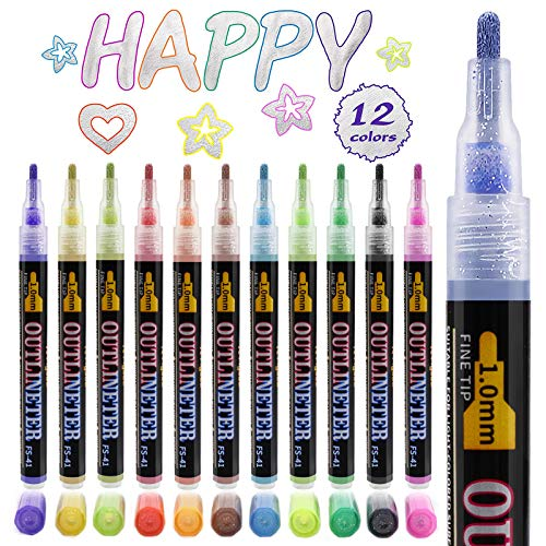 Double Line Outline Marker Pens,12 Colors Self Outline Metallic Markers Dazzle Shimmer Glitter Pens|Permanent Painting for Easter Egg Decor, Gift Card, DIY Photo Album, Scrapbook Crafts, Wood, Glass